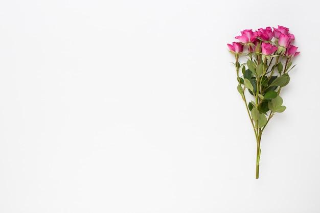 흰색 나무 바탕에 핑크 장미 꽃다발입니다. 평면 평신도, 평면도.