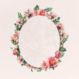 Pink rose frame floral oval badge