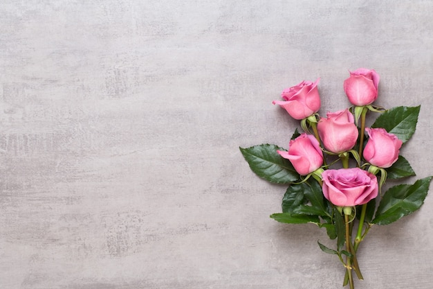 Pink rose on gray background. flat lay, top view