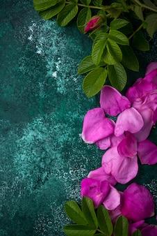 緑のテーブルの葉とピンクのバラのヒップの花びら