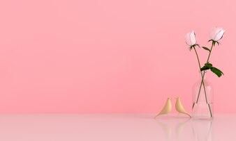 Pink rose in pink room for mockup
