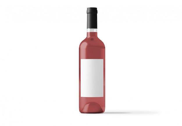 Pink rose wine bottle isolated