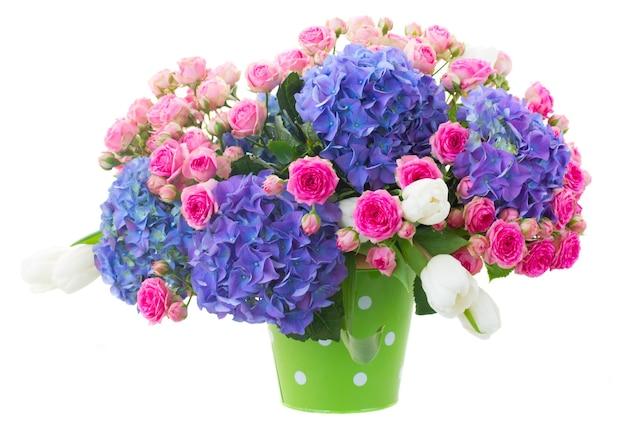 ピンクのバラと白い背景で隔離の緑の鍋に青いhortenzia花