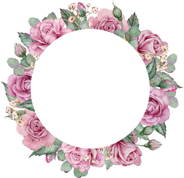 ピンクのバラとユーカリサークルフレーム。水彩の手描きの花の結婚式のフレーム。