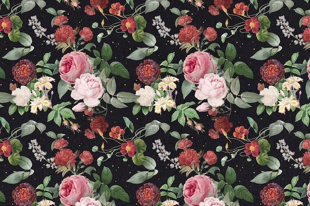 Розовые розы и пион цветочный узор старинные иллюстрации