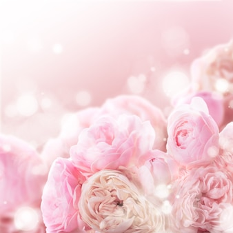デザインの結婚式の背景としてピンクのバラの束