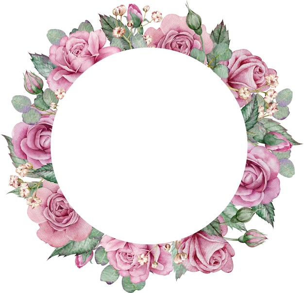 Pink roses and eucalyptus circle frame. watercolor hand-drawn floral wedding frame.