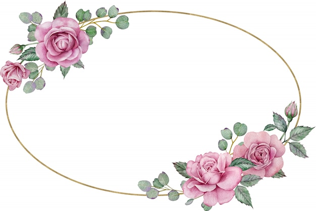 Pink roses frame. watercolor hand-drawn oval floral wedding frame. valentine's day template.