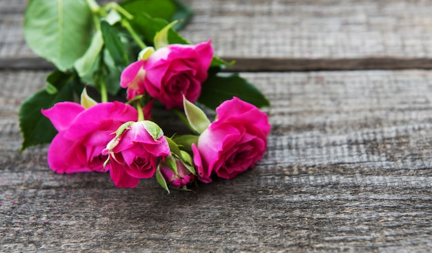 Pink roses on a table