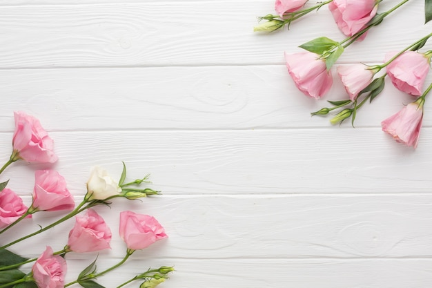 Pink roses on a wooden copy space background
