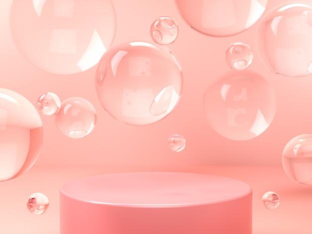 Розовый круглый постамент и стеклянные пузыри в розовой студии