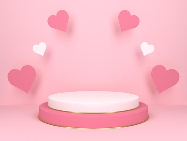 하트와 핑크 배경에 핑크 라운드 무대. 사랑 개념. 3d 렌더링