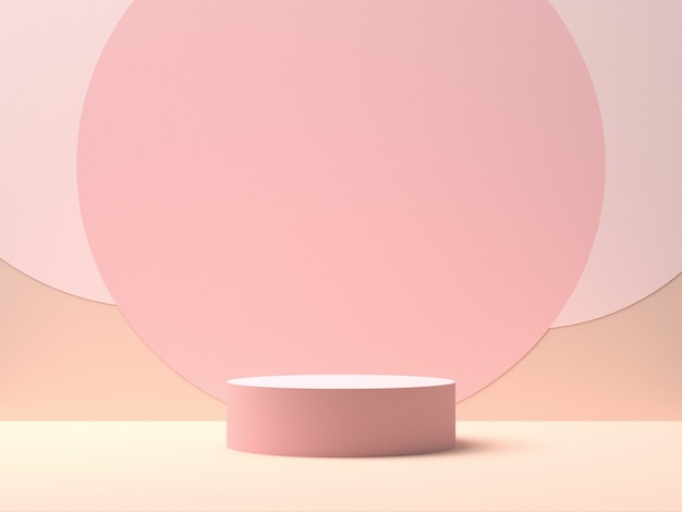Pink round stage on pink background with circle shapes in the middle. backdrop for product display. 3d rendering