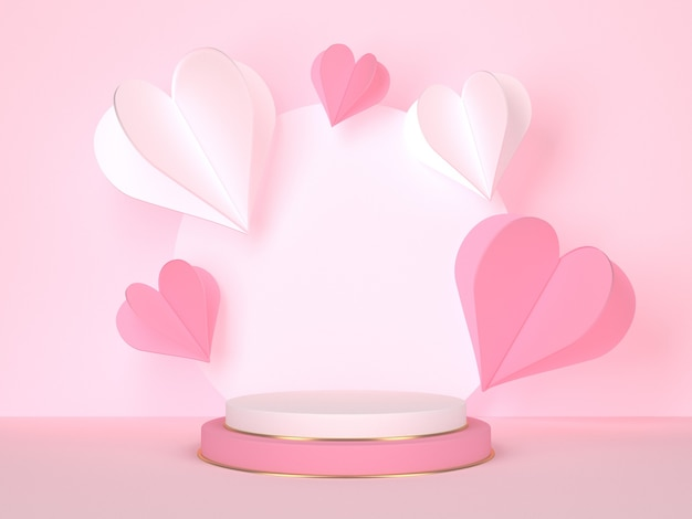 Pink round stage on pink background with hearts. love concept. 3d rendering