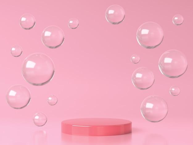 분홍색 원형 무대 연단 및 유리 거품 또는 분홍색 스튜디오 d 렌더링의 구체