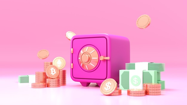 Pink safe box with bitcoin cryptocurrency coins and stacks of dollar cash font view on pink background. 3d render