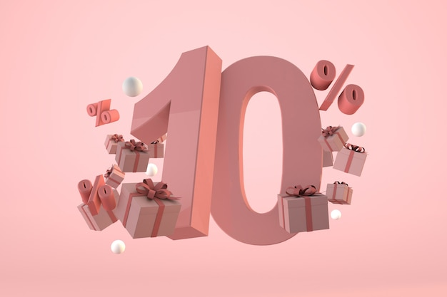 Pink sale 15% off, promotion and celebration with gift boxes and percentage. 3d render