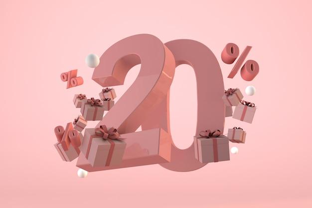 Розовая распродажа со скидкой 20%, акция и празднование с подарочными коробками и процентами. 3d визуализация