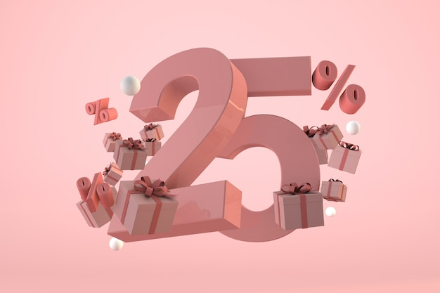 Pink sale 25% off, promotion and celebration with gift boxes and percentage. 3d render