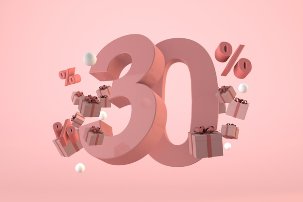 Pink sale 30% off, promotion and celebration with gift boxes and percentage. 3d render