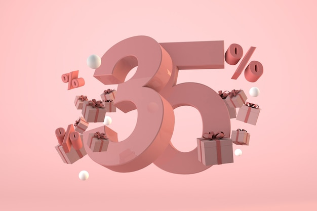 Pink sale 35% off, promotion and celebration with gift boxes and percentage. 3d render