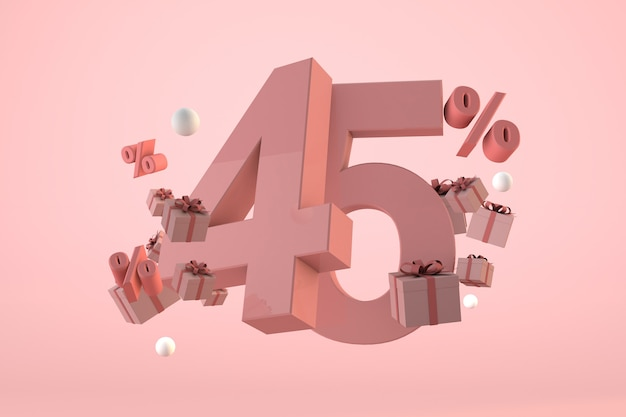 Pink sale 45% off, promotion and celebration with gift boxes and percentage. 3d render