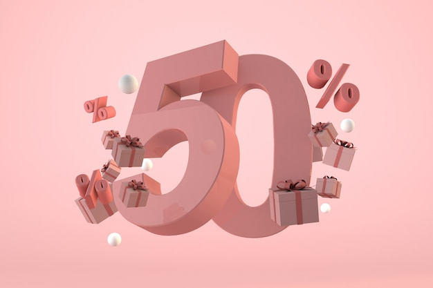 Розовая распродажа со скидкой 50%, продвижение и празднование с подарочными коробками и процентами. 3d визуализация