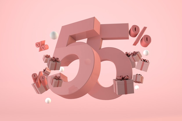 Pink sale 55% off, promotion and celebration with gift boxes and percentage. 3d render