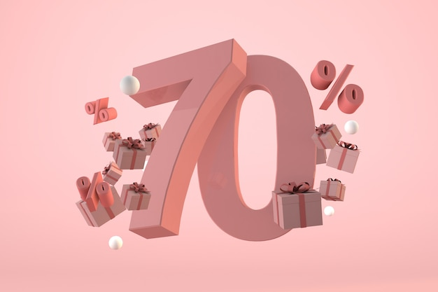 Pink sale 70% off, promotion and celebration with gift boxes and percentage. 3d render