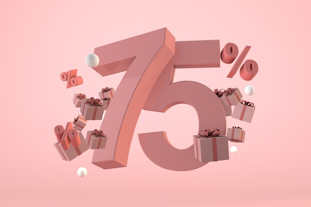 Pink sale 75% off, promotion and celebration with gift boxes and percentage. 3d render