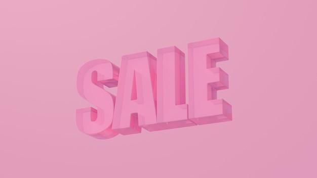 Розовое слово продажи. розовый фон. абстрактная иллюстрация, 3d визуализация.