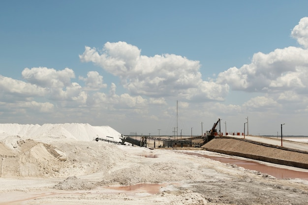 Pink salt harvesting and refining factory in the yucatan