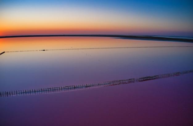 Вид сверху розовое соленое озеро Premium Фотографии
