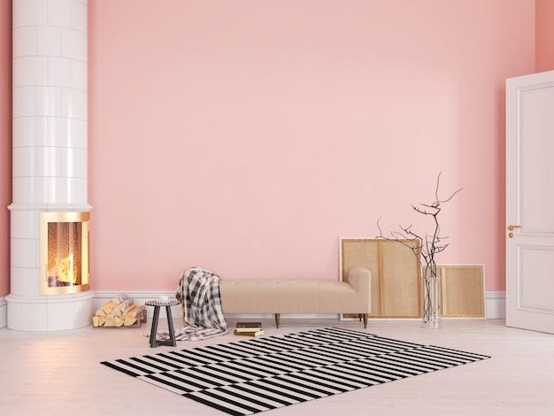 소파, 스토브, 벽난로, 카펫이있는 핑크 스칸디나비아 클래식 인테리어. 3d 렌더링 그림을 조롱.