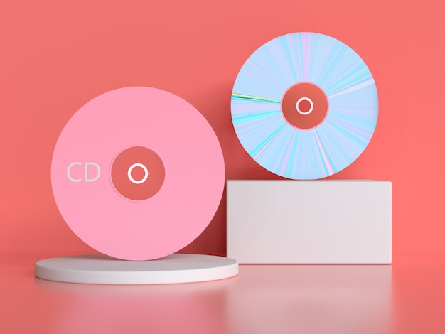 Pink scene 3d rendering cd/dvd circle disk
