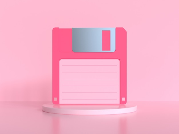 Pink scene 3d rendering old diskette/floppy