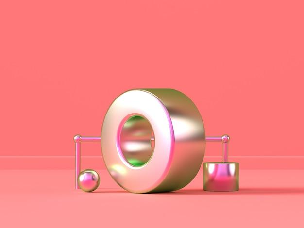 ピンクのシーン金属の幾何学的形状の要約