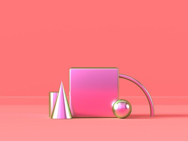 Pink scene metallic geometric shape abstract
