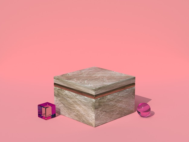 Pink scene square shape marble texture 3d rendering