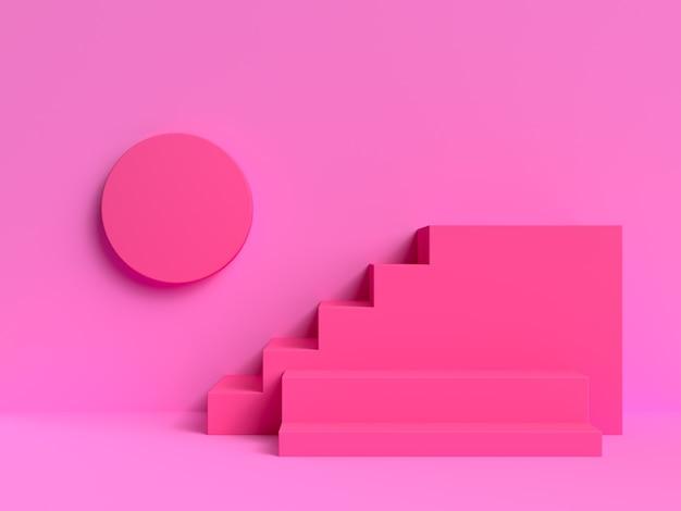 Pink scene wall steps podium 3d rendering