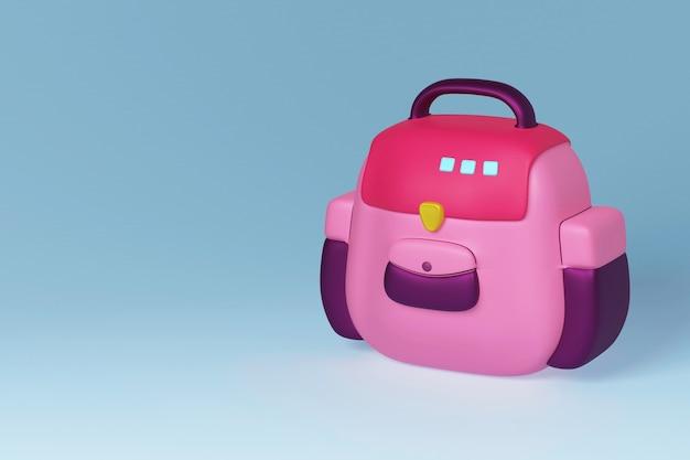 Розовый школьный рюкзак, изолированные на бирюзовом фоне модный модный стиль 3d иллюстрация