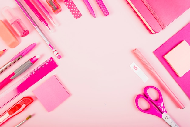 Pink school material