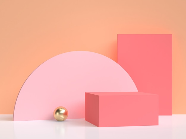 Pink semicircle orange wall