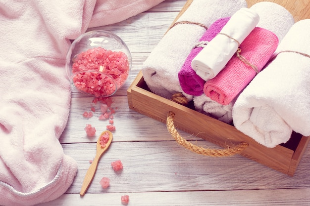 Pink  set of bathhouse accessories for spa