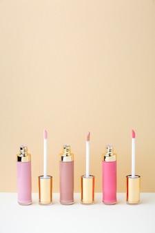 Pink shades lipgloss arrangement