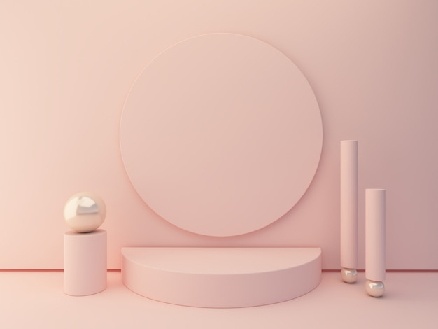 Pink shapes on pastel colors abstract background. minimal cylinder podium. scene with geometrical forms to show cosmetic products.