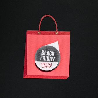 Pink shopping bag with special offer sticker