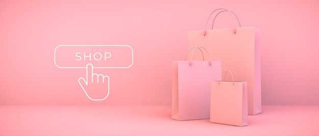 Pink shopping bags 3d rendering with button illustration