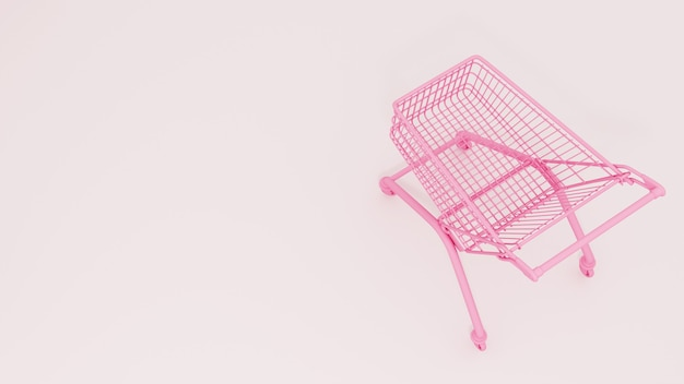 Pink shopping cart on a white background. sale.  3d rendering