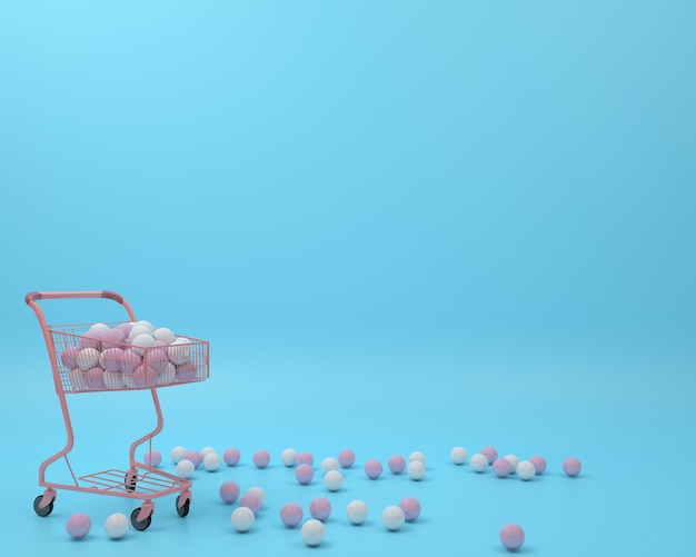Pink shopping cart with ball in blue pastel background